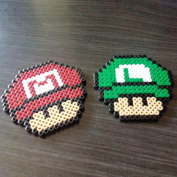 Mario and Luigi mushhroom hama beads by hae_urusai