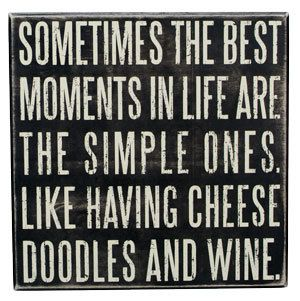 Cheese Doodles and Wine Hand Painted Wood Wine Collectible Funny Quote Humor Gift. $30.00, via Etsy.