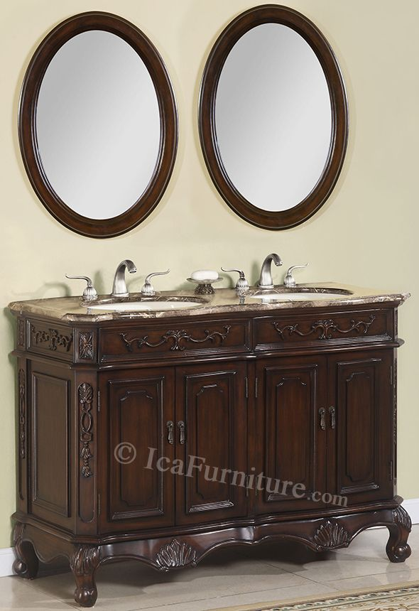 50 Inch Double Vanity Part - 47: Double Bath Vanity And Matching Mirrors - 50 Inch - 1152-3pcs
