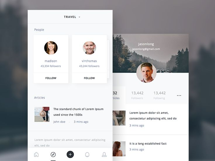 Dribbble - Discover & Profile Screen by Ghani Pradita