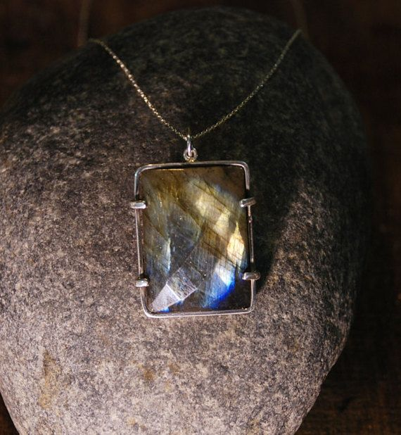 Labradorite Necklace Flashy Colours of by TherapyStonesOne on Etsy