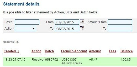 Here is my Withdrawal Proof from AdClickXpress. I get paid daily and I can withdraw daily. Online income is possible with ACX, who is definitely paying - no scam here. ACX is now paying 6% per day!!  Date: 27/07/2015 18:23 To Pay Procesor Perfect Money Account: U5301307 Payment ID: 36603  Amount: $5.47 Currency: USD Batch: 95897521 Memo: API Payment. Ad Click Xpress Withdraw #4404394-36603   Join here: http://www.adclickxpress.com/?r=opet  #ACX #AdClickXpress #MakeMoneyFromHome…
