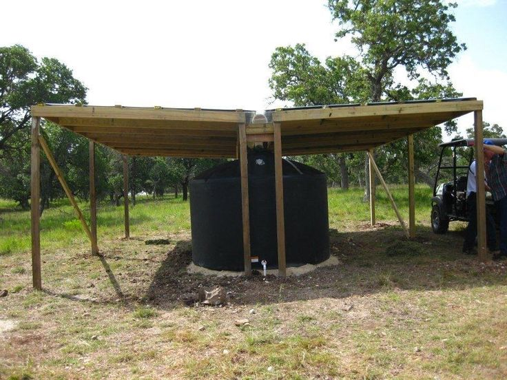 It has a 20 ft X 20 ft roof. 1 inch of rainfall will put about 250 gallons in the tank.