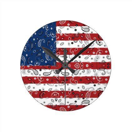 Bandana Pattern American Flag Round Clock - decor diy cyo customize home