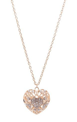 Long Chain Necklace with Stone Encrusted Heart