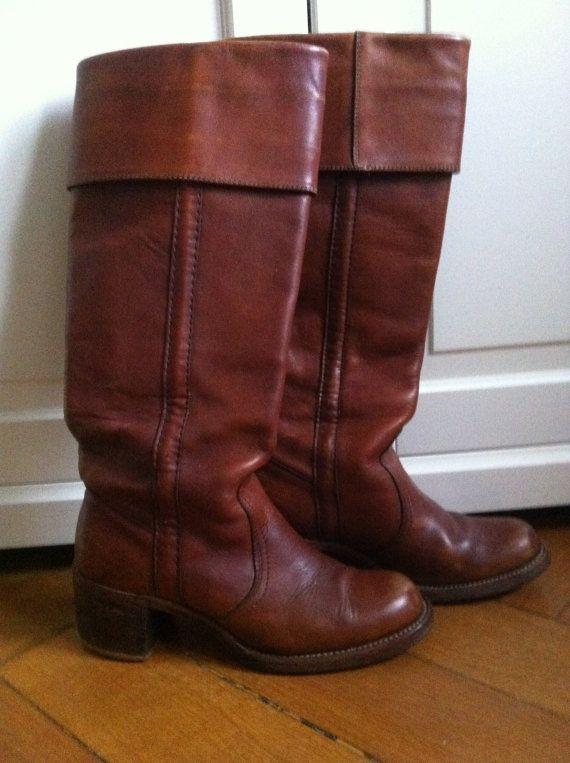 SALEFabulous 70s Cuffed Vintage Frye Black Label Boots US · BottesBotte De  CowboyBrun ...