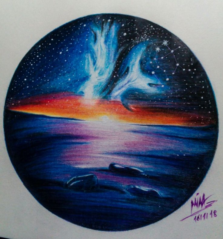 Galaxy sunset Color pencil / easy drawing / colored pencil ...