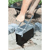 Newspaper brick maker - makes bricks out of shredded newspaper, leaves, etc.. for kindling