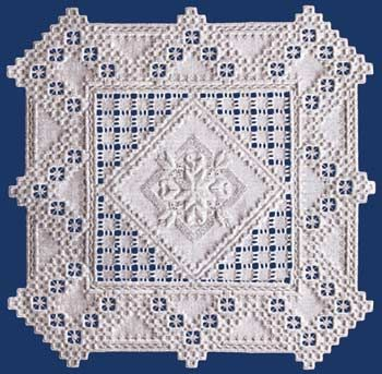 """The lovely center of satin stitching is accented with a unique square cutwork.  The design is 15.5"""" x 15.5"""" on 22-count.  #stitching #needlework #embroidery"""