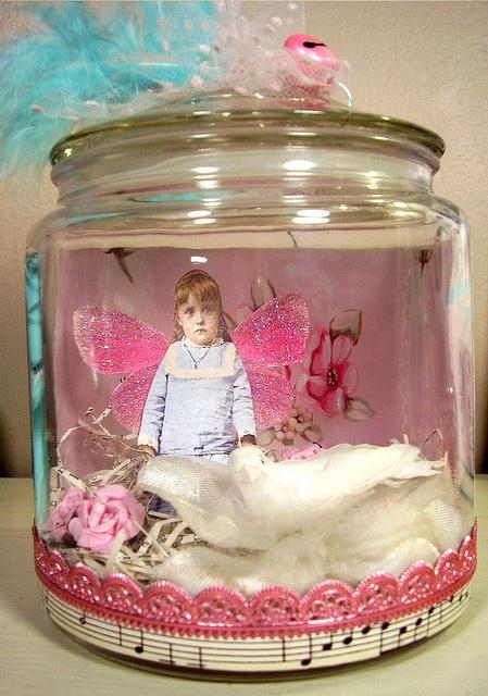 Fairies in jars...good idea for a mason jar...so cute.