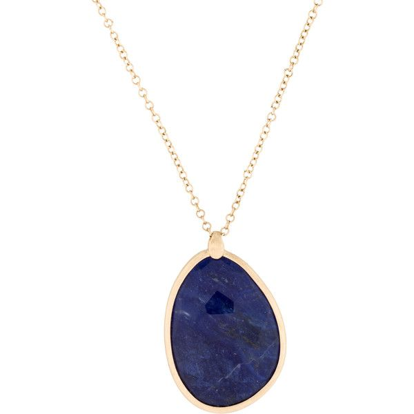 Pre-owned 14K Sodalite Doublet Pendant Necklace (5,485 MXN) ❤ liked on Polyvore featuring jewelry, necklaces, pendant necklace, pendant jewelry, pre owned jewelry, 14 karat gold jewelry and 14 karat gold necklace