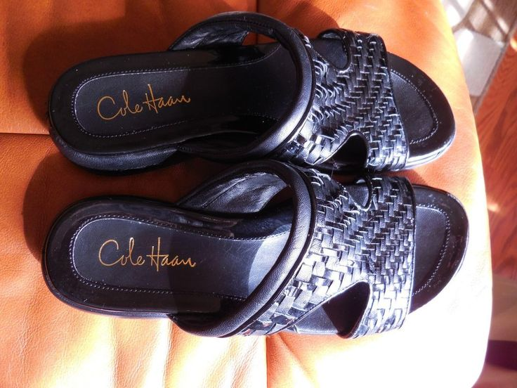 WOMENS BLACK PATENT LEATHER WOVEN SLIDE SANDAL COLE HAAN 8B NIKE AIR SOLE…