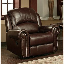 @Overstock - Top-grain Italian leather adds a rich look and feel to this Broadway reclining armchair. This recliner is also built of strong hardwood frames for sturdiness and finished with brass-colored nail heads.http://www.overstock.com/Home-Garden/Broadway-Premium-Italian-Leather-Reclining-Armchair/5072459/product.html?CID=214117 $805.99