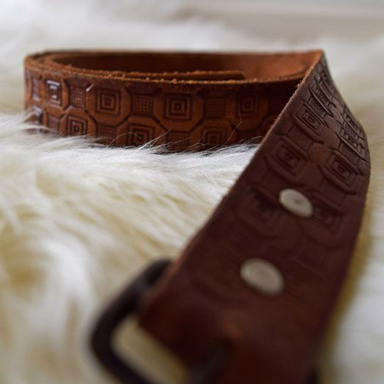 Made By Mee + Co | Tan Leather Embossed Belt