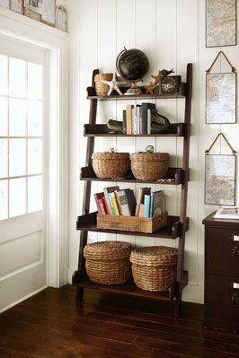 shelf, baskets, mirrors | Pottery Barn