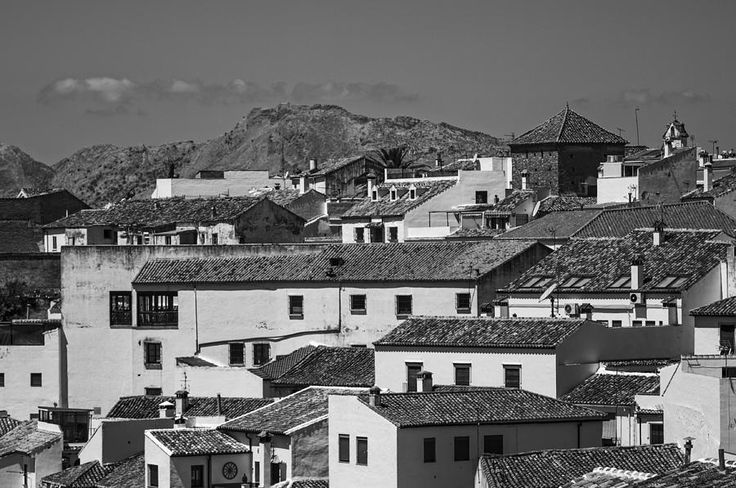 Roofs Of Ronda. Andalusia. Black And White by Jenny Rainbow