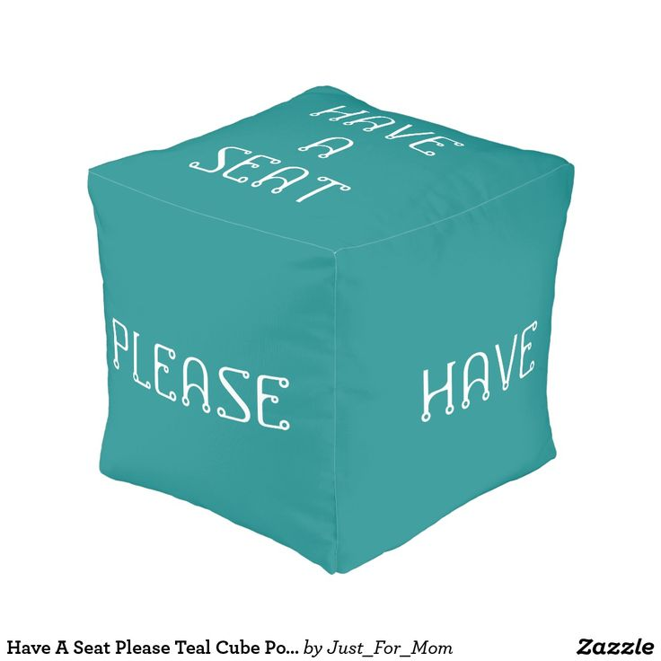 Have A Seat Please Teal Cube Pouf by Janz