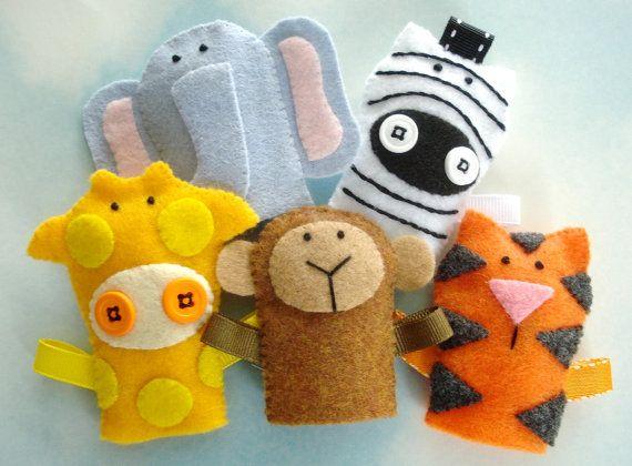 Jungle Animal Felt Finger Puppets Sewing Pattern - PDF ePATTERN for Monkey, Tiger, Elephant, Giraffe, Zebra & Carrying Case