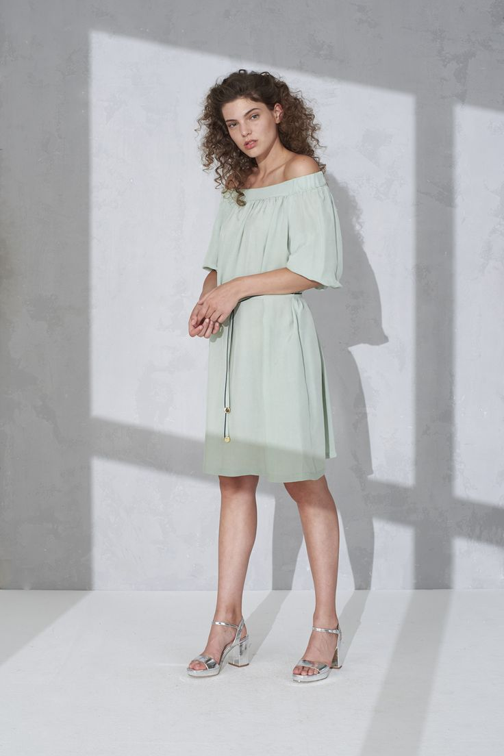 Off shoulder mid length dress