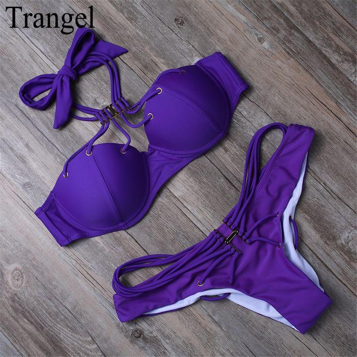 Sexy Push Up Wanita Bikini Mandi setelan Purple Padded Halter Bikini Swimsuit Swimwear Strappy Musim Panas Beachwear