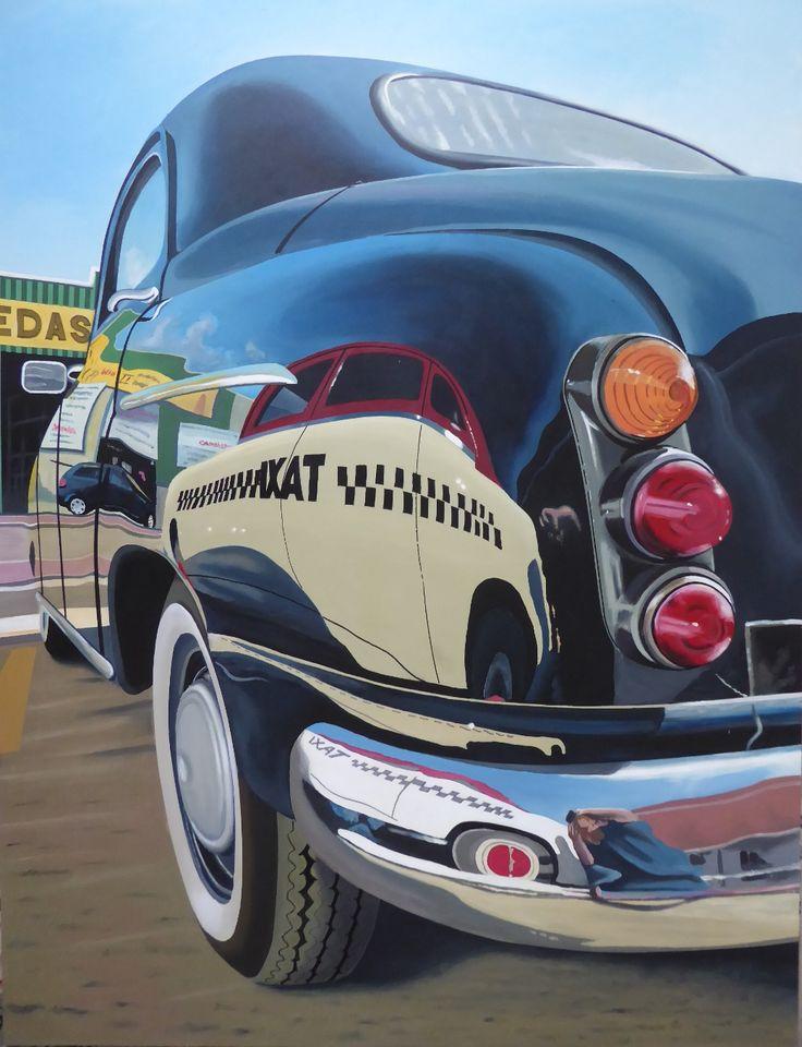 SEAT 1400 Taxi del año 1958 reflejado en SEAT 1400 Berlina Técnica mixta con pintura acrílica sobre soporte rígido 50F (116 x 89 cm).  Taxi SEAT 1400 of year 1958, reflected in SEAT 1400 Sedan Mixed media with acrylic paint on wooden canvas 50F (116 x 89 cm).