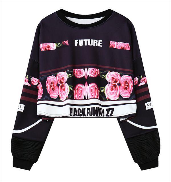 Черный забавный ZZ 3D розы толстовки Sudaderas Mujer 2016 Harajuku женщины кофты бег спортивный костюм Emoji пуловер топы