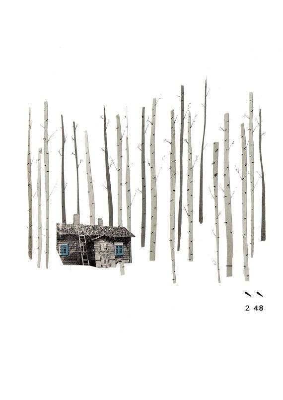 Cabin in the Forest by LucyDriscoll on Etsy, £12.00