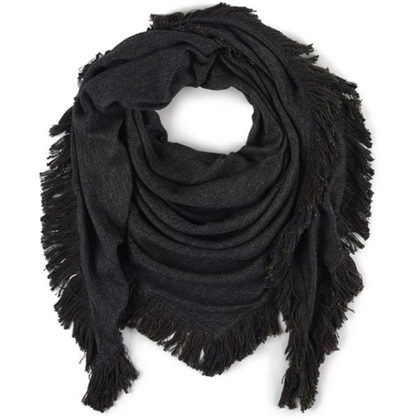 Echo Reversible Triangle Wrap Scarf ($53) ❤ liked on Polyvore featuring accessories, scarves, charcoal, triangle shawl, fringe shawl, echo scarves, wrap scarves and fringe scarves
