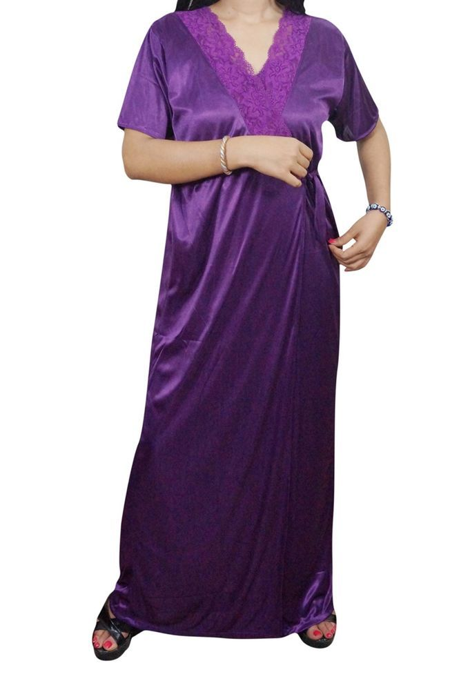 b0fbc67562 Indiatrendzs Women Nighty Satin Purple Nightwear 2 Pc Set Sexy Nighty With  Robe  Indiatrendzs