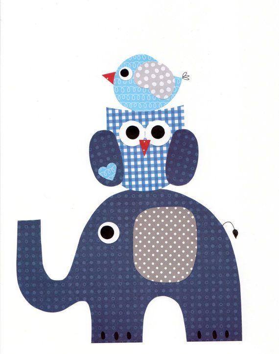 Elefante, búho y pajarito