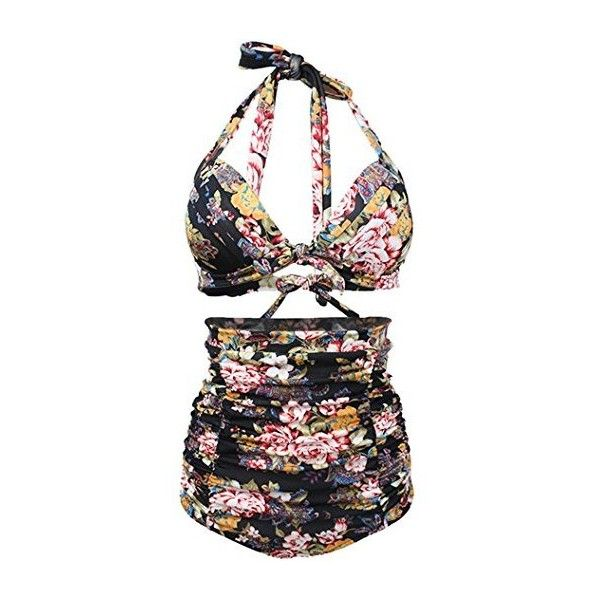 Partiss Women's Retro 50s Floral Halter High Waist Bikini Carnival... ($30) ❤ liked on Polyvore featuring swimwear, bikinis, retro high waisted swimsuits, floral high waisted bikini, high waisted bathing suits, swim suits and high waisted swim suit