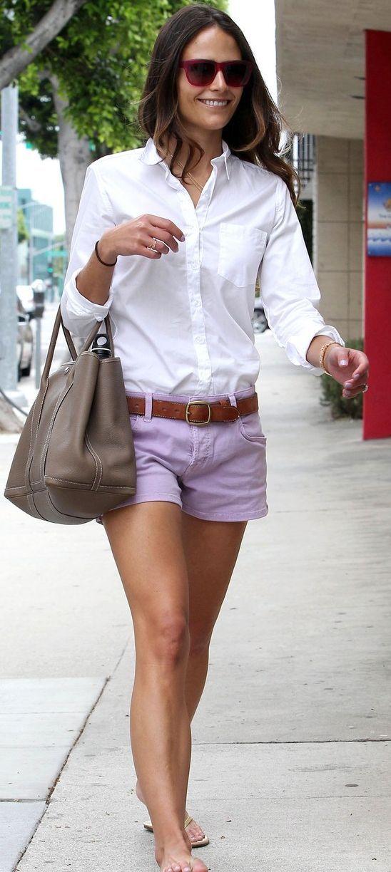 Jordana Brewster- sweet purple shorts