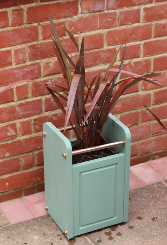 Tall Wood Planter / Plant Pot with Copper Detailing by InWoodCraft