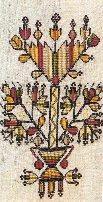 Embroidered motif (stylized flowers in a vase) on a woman's shirt from Kalymnos (a Dedocanese Island, located to the west of the Bodrum peninsula).  Late-Ottoman era, Greek, ca. 1900.