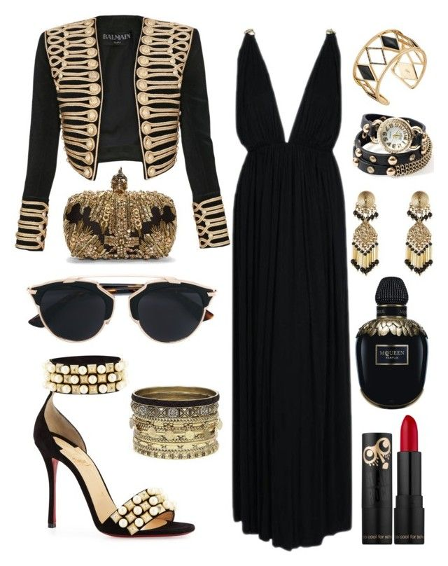 """Glam rock! Глэм рок"" by tyttaya on Polyvore featuring мода, Balmain, Yves Saint Laurent, Christian Louboutin, Christian Dior, Alexander McQueen, Rebecca Minkoff, Daytrip и Etro"