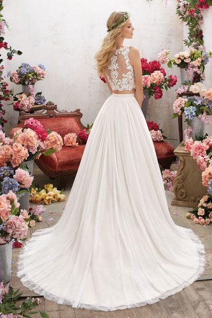 2019 de dos piezas de la cucharada una línea vestidos de boda de tul