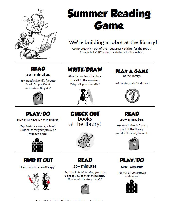 Bryce Don't Play: Summer Reading Game Cards!