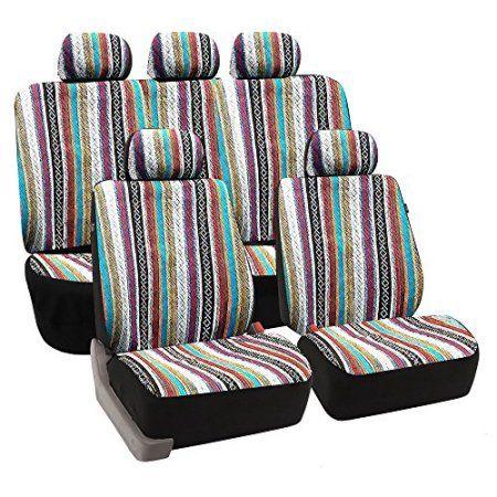 Baja Auto Interior Set Inca Saddle Blanket Premium Seat Cover Set, Front and Rear Headrests