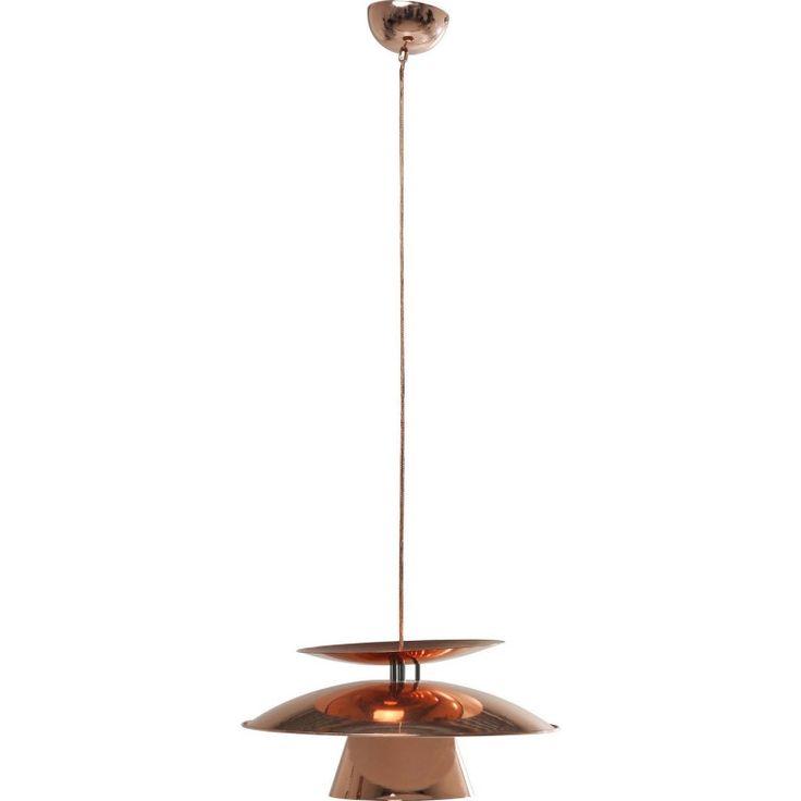 """Huiselijk design met een knipoog, dat is in deze Hanglamp van Kare Design Flying Saucer, of """"Vliegende Schotel"""" goed gelukt 't Glanzend koper zorgt voor sfeer."""