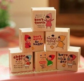 kawaii Pony Brown LITTLE RED RIDING HOOD Girl mini diary craft rubber stamps, £6.50