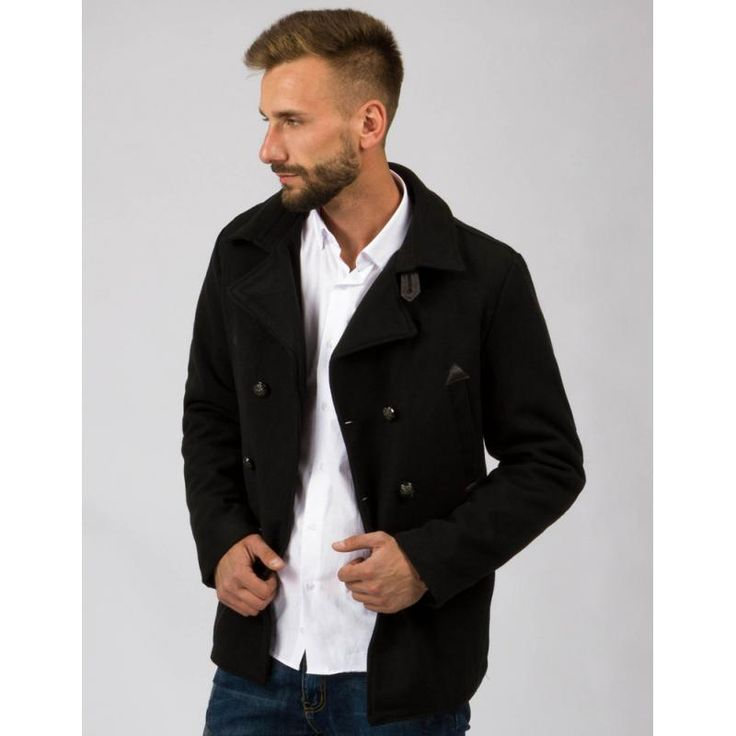 Pánský stylový dvouřadový kabát černý na knoflíky