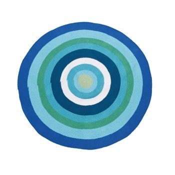 Sebra Crochet Round Rug - Blue/Green/White