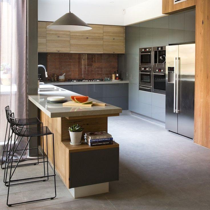 Modern kitchen - gray / wood texture
