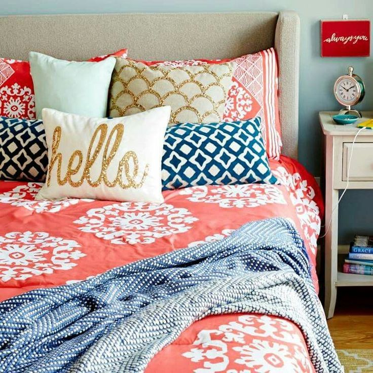 Elegant Love Coral, Navy Blue, Grey And White For Guest Bedroom