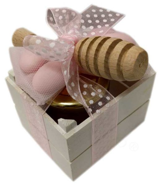 Cassettina in legno decorata in rosa con Miele