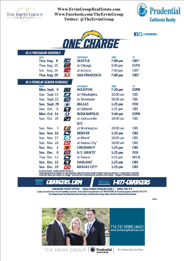 2013 Chargers Schedule Football My Favorite Season