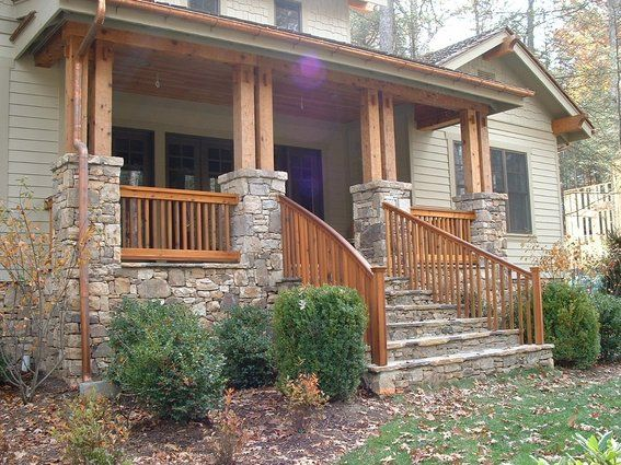 Craftsman porch railing designs google search benton for Front balcony railing