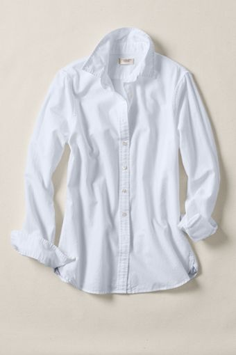 white oxford shirt. heritage oxford in white from lands end.