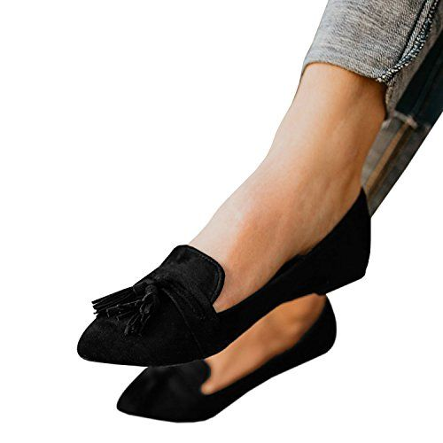 05aed8ce054c3 Faisean Womens Pointy Toe Ballet Flat Penny Loafers Fringe Shoes ...