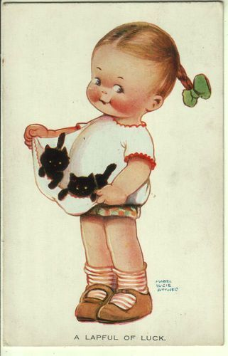 A Lapful of Luck ~ Vintage Mabel Lucie Attwell Postcard with Flocked Black Kittens